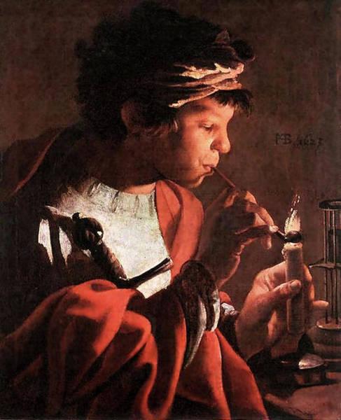 Painting - Boy Lighting A Pipe  by Hendrick ter Brugghen