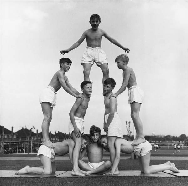 1961 Photograph - Boy Pyramid by Moore