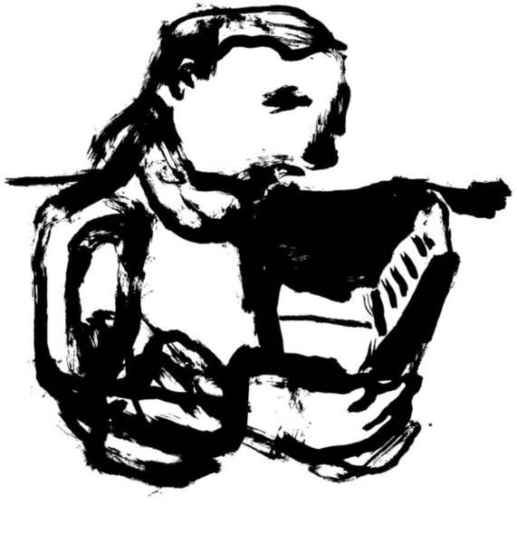 Drawing - Boy Reading by Artist Dot