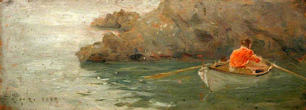 Painting - Boy Rowing Out From A Rocky Shore by Henry Scott Tuke
