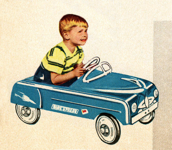 Archival Digital Art - Boy Sitting In 1950s Toy Car by Graphicaartis