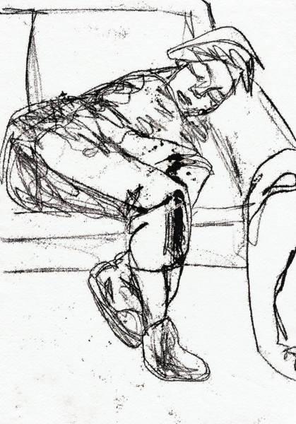 Drawing - Boy Sleeping On A Sofa by Artist Dot