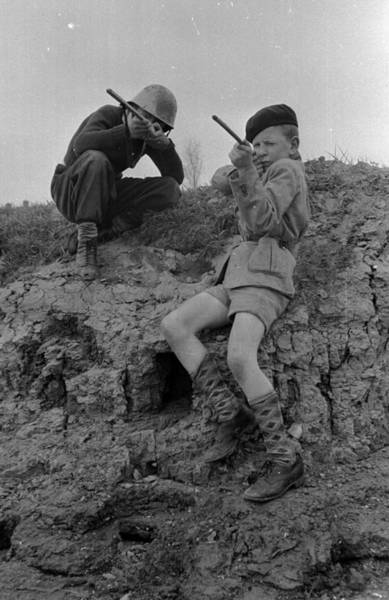 Toy Gun Photograph - Boy Soldiers by John Chillingworth