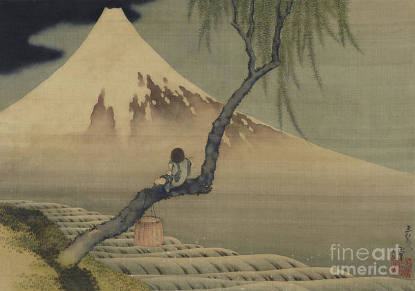 Wall Art - Painting - Boy Viewing Mount Fuji, 1839 by Hokusai