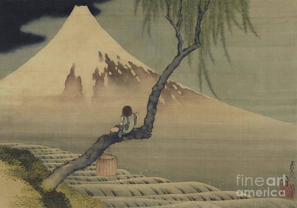 Wall Art - Painting - Boy Viewing Mount Fuji, 1839 by Hokusai