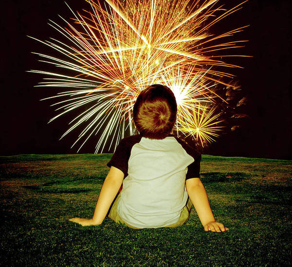 People Watching Photograph - Boy Watching Fireworks by Kimberly Hosey