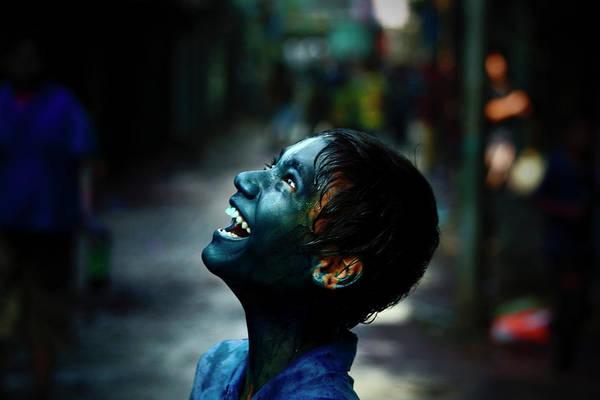 Holi Photograph - Boy With Colour On Face by A.m. Ahad