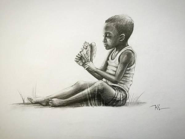 Mixed Media - Boy With Conch Shell by Katerina Kovatcheva