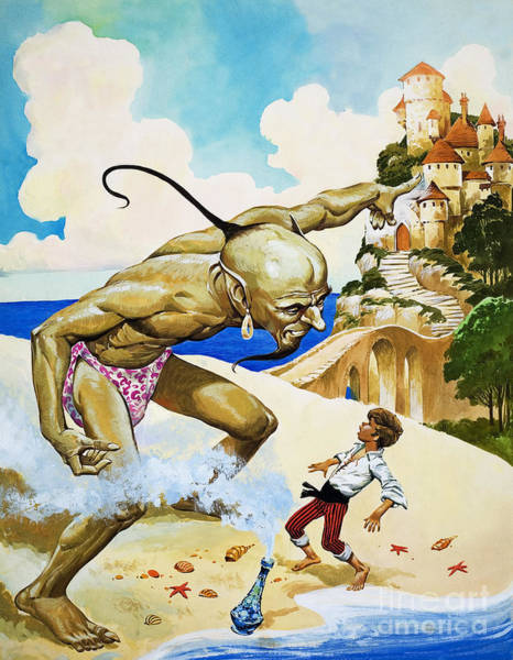 Wall Art - Painting - Boy With Genie by Unknown