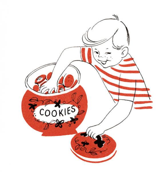 Jar Digital Art - Boy With Hand In Cookie Jar by Graphicaartis