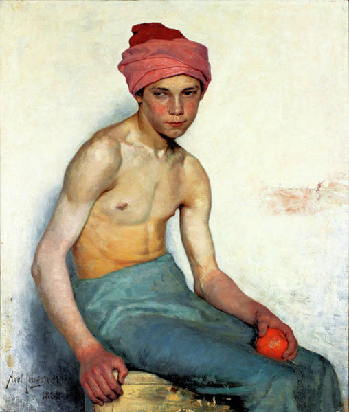 Painting - Boy With Orange by Axel Jungstedt