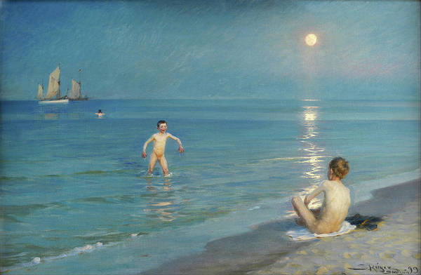 Wall Art - Painting - Boys Bathing At Skagen. Summer Evening - Digital Remastered Edition by Peder Severin Kroyer