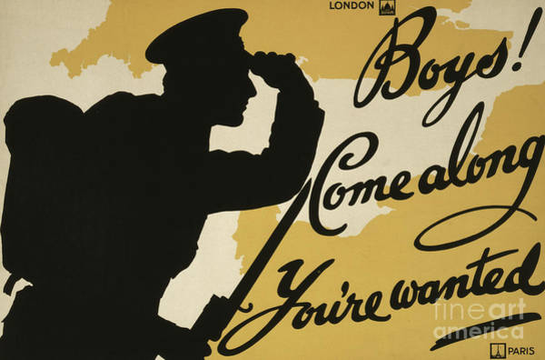 Wall Art - Painting - Boys  Come Along, You Are Wanted, 1915  by English School