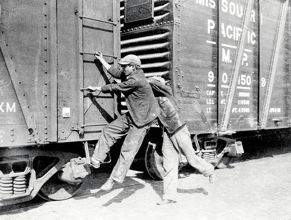 Wall Art - Photograph - Boys Hop Freight Train - Great Depression C. 1930 by Daniel Hagerman