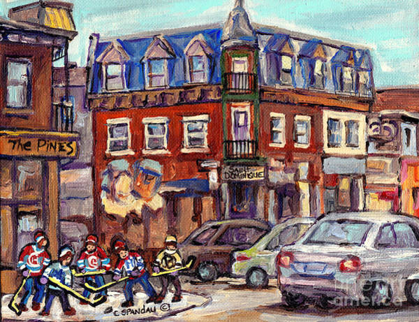 Painting -  Boys Of St Dominique And Pine Avenue Hockey Art Montreal Plateau Winter Scenes C Spandau Quebec by Carole Spandau