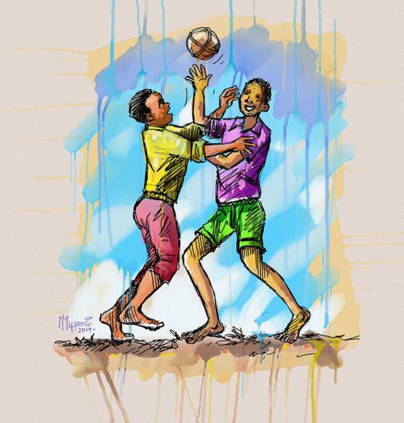 Uganda Painting - Boys Playing With A Ball by Anthony Mwangi