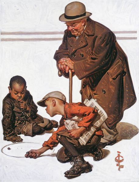 Wall Art - Painting - Boys Playing With Marbles - Digital Remastered Edition by Joseph Christian Leyendecker