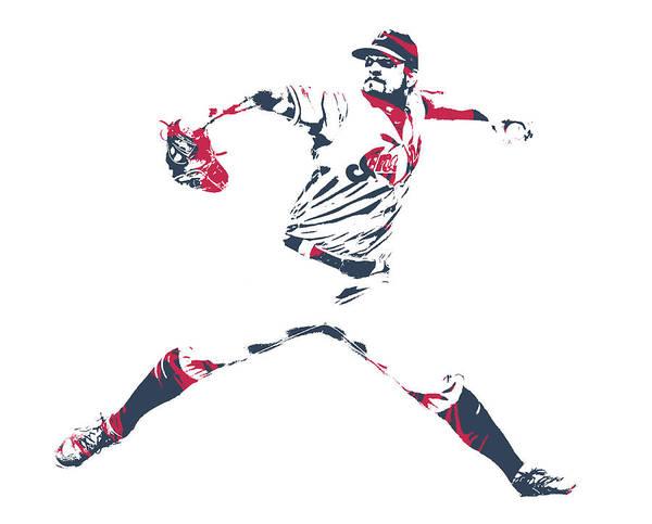 Wall Art - Mixed Media - Brad Hand Cleveland Indians Pixel Art 1 by Joe Hamilton