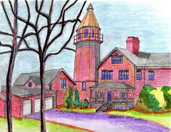 Wall Art - Drawing - Braddock Point Lighthouse by Paul Meinerth
