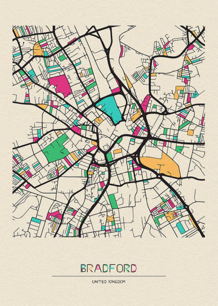 Wall Art - Drawing - Bradford, United Kingdom City Map by Inspirowl Design