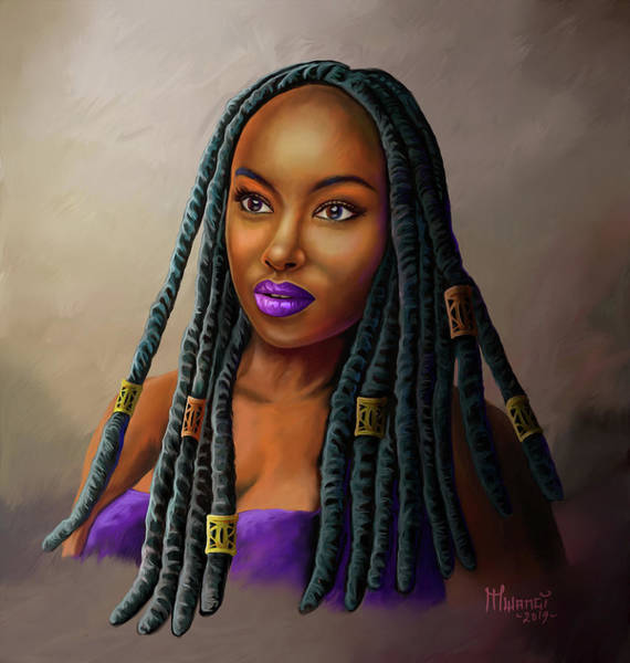 Wall Art - Painting - Braid Queen by Anthony Mwangi