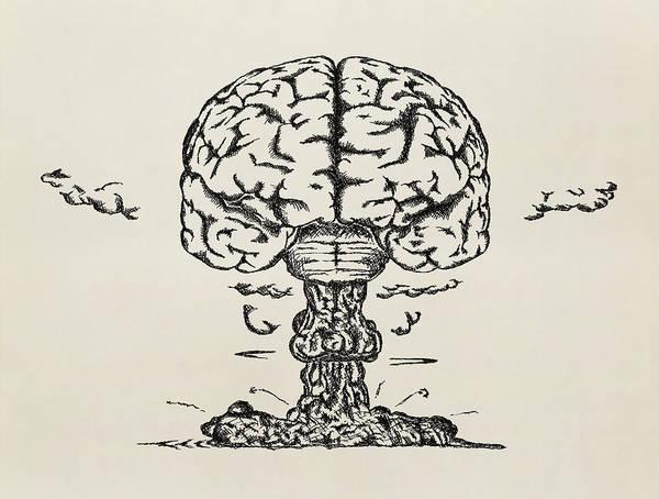 Taking Off Photograph - Brain Launch. Sketch by Alex doubovitsky