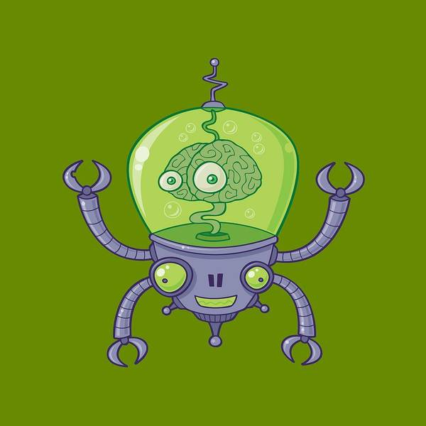 Cyborg Digital Art - Brainbot Robot With Brain by John Schwegel