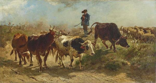 Wall Art - Painting - Braith, Anton 1836 - Biberach Riss - 1905 Shepherd With Sheep by Celestial Images