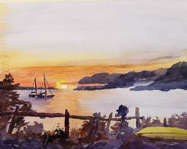 Painting - Brakey Bay Sunset by Larry Hamilton