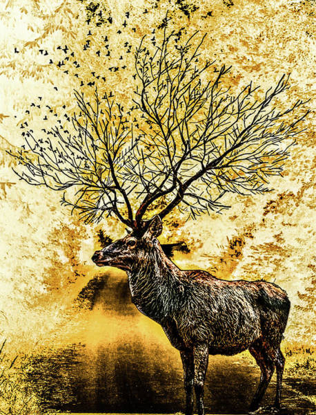 Digital Art - Branching Antelope by AE collections