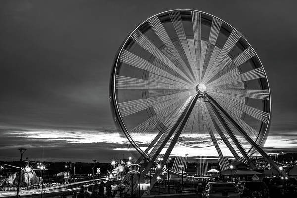 Wall Art - Photograph - Branson Ferris Wheel At Dusk On The Strip - Monochrome by Gregory Ballos