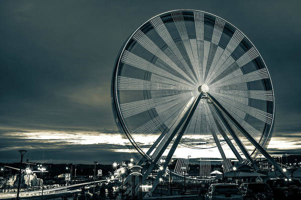 Wall Art - Photograph - Branson Ferris Wheel At Dusk On The Strip - Sepia by Gregory Ballos