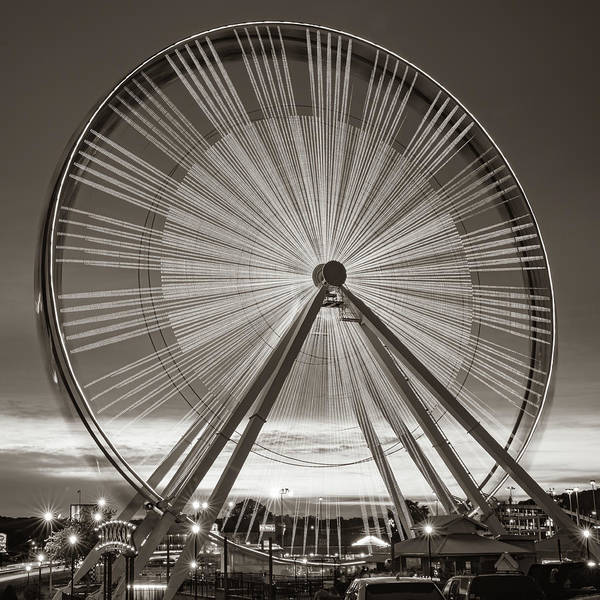 Photograph - Branson Ferris Wheel In Sepia 1x1 by Gregory Ballos
