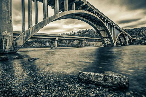 Photograph - Branson Lake Taneycomo Bridge In Sepia by Gregory Ballos