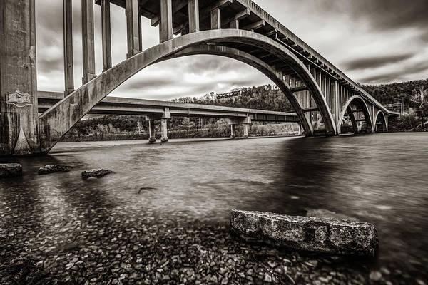 Photograph - Branson Lake Taneycomo Bridge Monochrome Sepia by Gregory Ballos