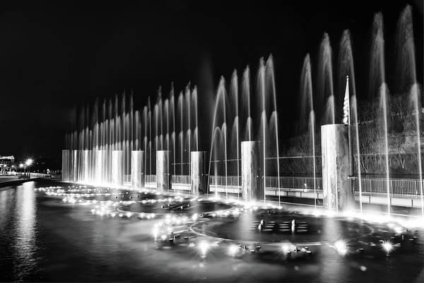 Photograph - Branson Landing Fountain Show - Branson Missouri In Monochrome by Gregory Ballos