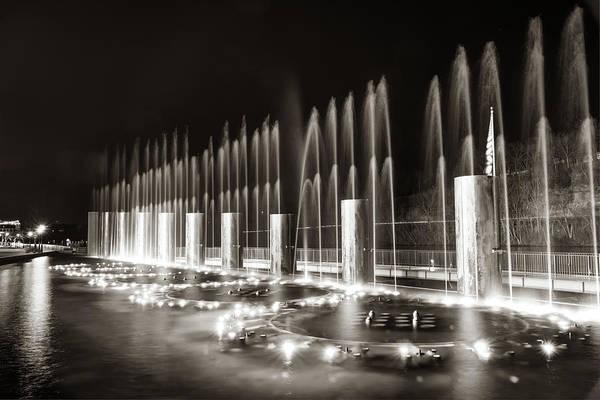 Photograph - Branson Landing Fountain Show - Branson Missouri In Sepia by Gregory Ballos