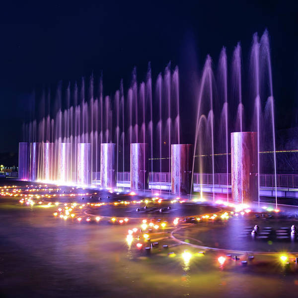 Photograph - Branson Landing Fountains - Square Edition by Gregory Ballos