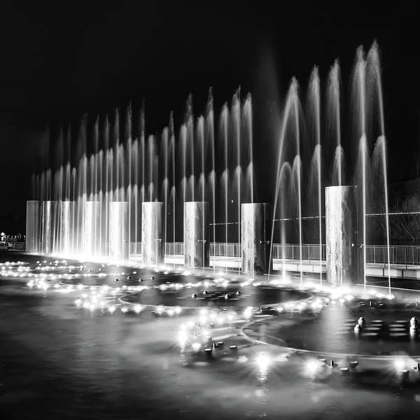 Photograph - Branson Landing Fountains - Square Monochrome Edition by Gregory Ballos