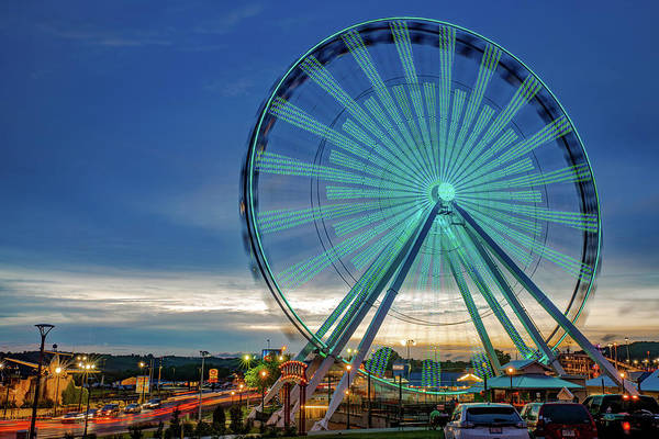 Wall Art - Photograph - Branson Strip And Ferris Wheel At Dusk by Gregory Ballos