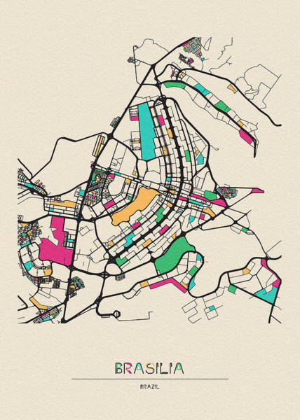 Drawing - Brasilia, Brazil City Map by Inspirowl Design