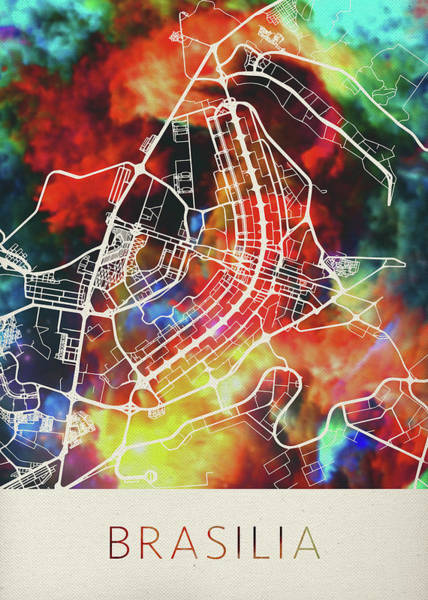 South America Mixed Media - Brasilia Brazil Watercolor City Street Map by Design Turnpike