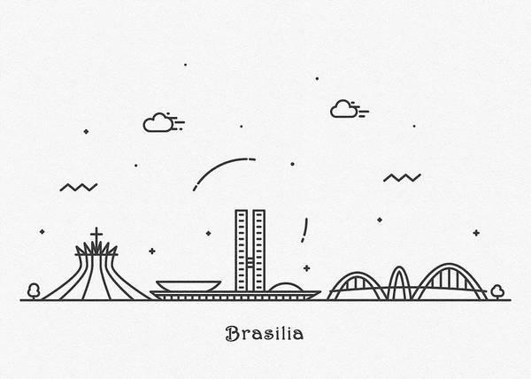 Landmark Center Drawing - Brasilia Cityscape Travel Poster by Inspirowl Design