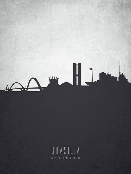 Wall Art - Digital Art - Brasilia Skyline Cityscape Brbr19 by Aged Pixel