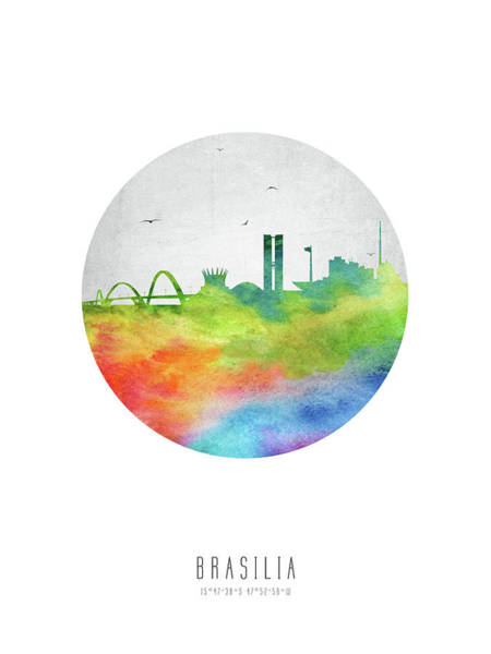 Wall Art - Digital Art - Brasilia Skyline Cityscape Brbr20 by Aged Pixel
