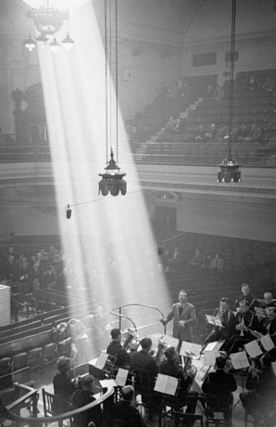 Concert Hall Photograph - Brass Band Playing by Bert Hardy