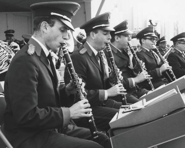 Sheet Music Photograph - Brass Band Playing Outdoors, B&w by George Marks