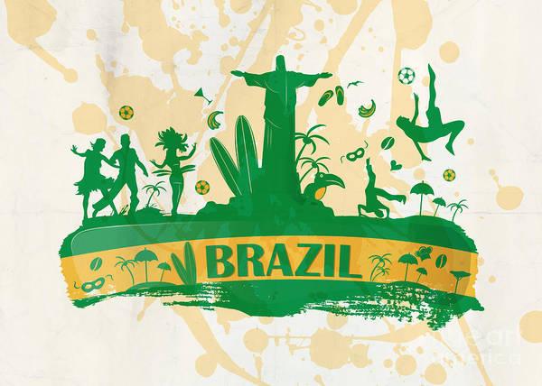Capoeira Digital Art - Brazil Banner With Icon by Domenico Condello