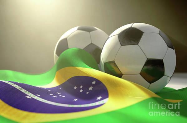 Wall Art - Digital Art - Brazil Flag And Soccer Ball by Allan Swart
