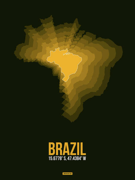 Wall Art - Digital Art - Brazil Radiant Map 1 by Naxart Studio